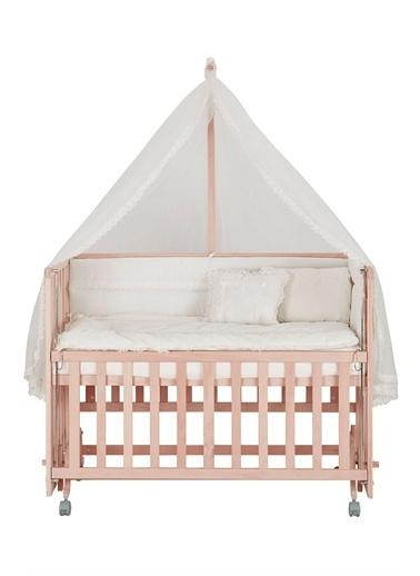 Babycom Naturel Ahşap Boyasız Anne Yanı Beşik 70 X 130 - Tekerlekli - Kademeli Beşik + Kahve Zikzak Uyku Seti Krem